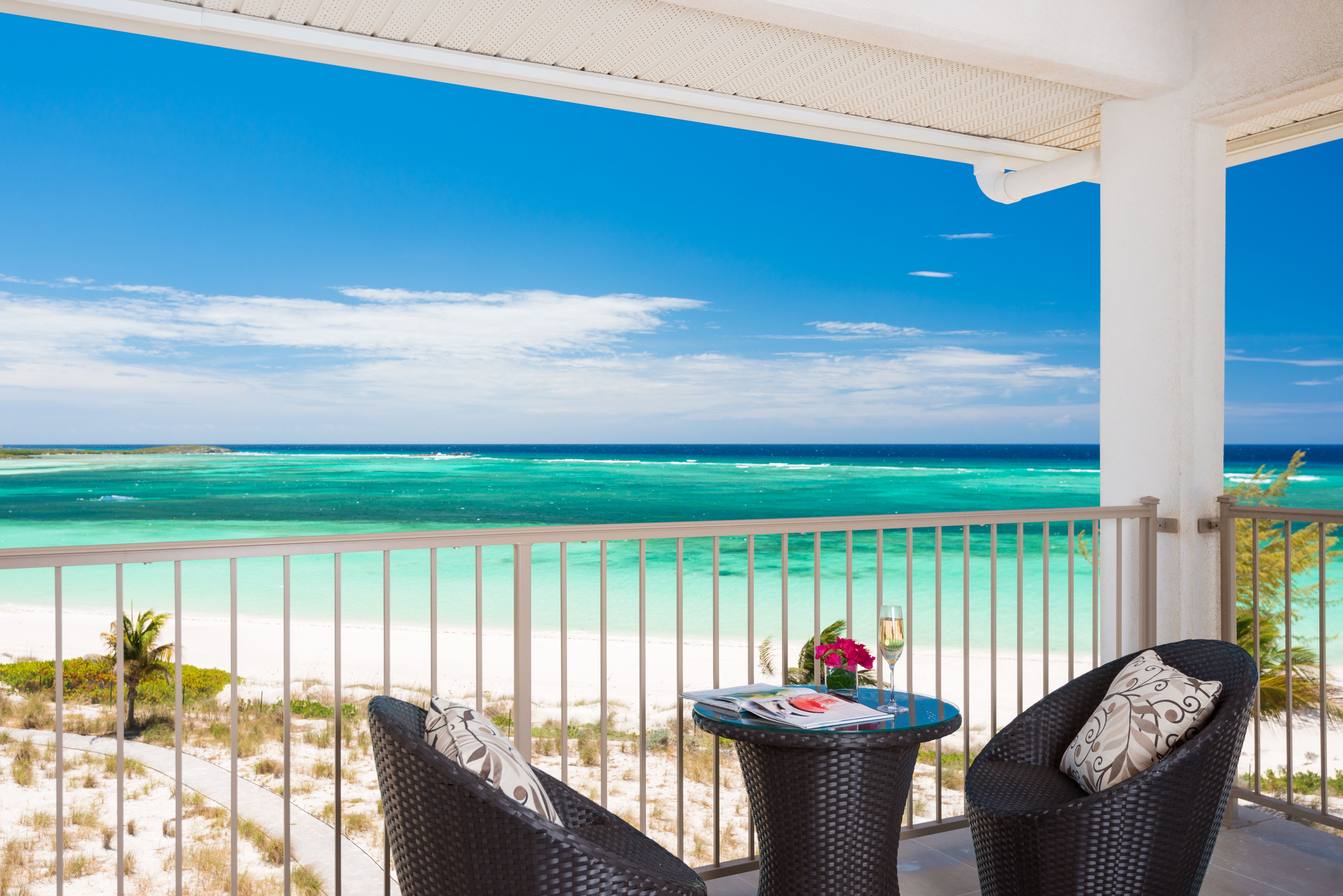 View of beach from one bedroom suite at www.eastbayresort.com Turks and Caicos.