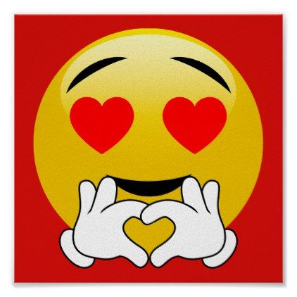 Heart Emoji With Love Hands Red Poster Zazzle Com Emoticon Love Emoji Love Heart Emoji