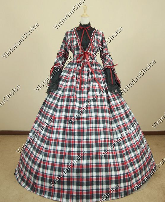 Civil War Cotton Blend Tartan Ball Gown Prom Dress Reenactment ...