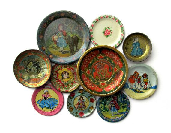 Antique TIN SAUCERS Instant Collection of 10 by sushipotvintage, $125.00
