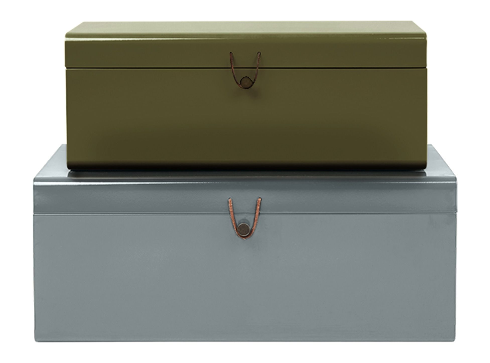 Massivholzblock Daven Set Of 2 Metal Trunks With Leather Buckle Green And Grey