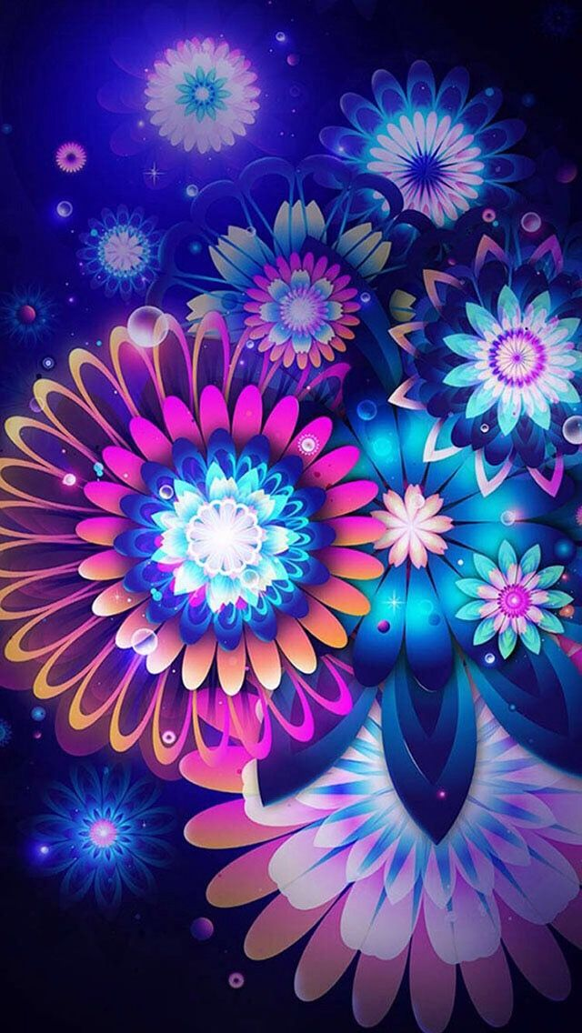 Colorful Wallpaper S Flower Backgrounds Cute Wallpapers Iphone Neon Flowers Smartphone Hintergrund