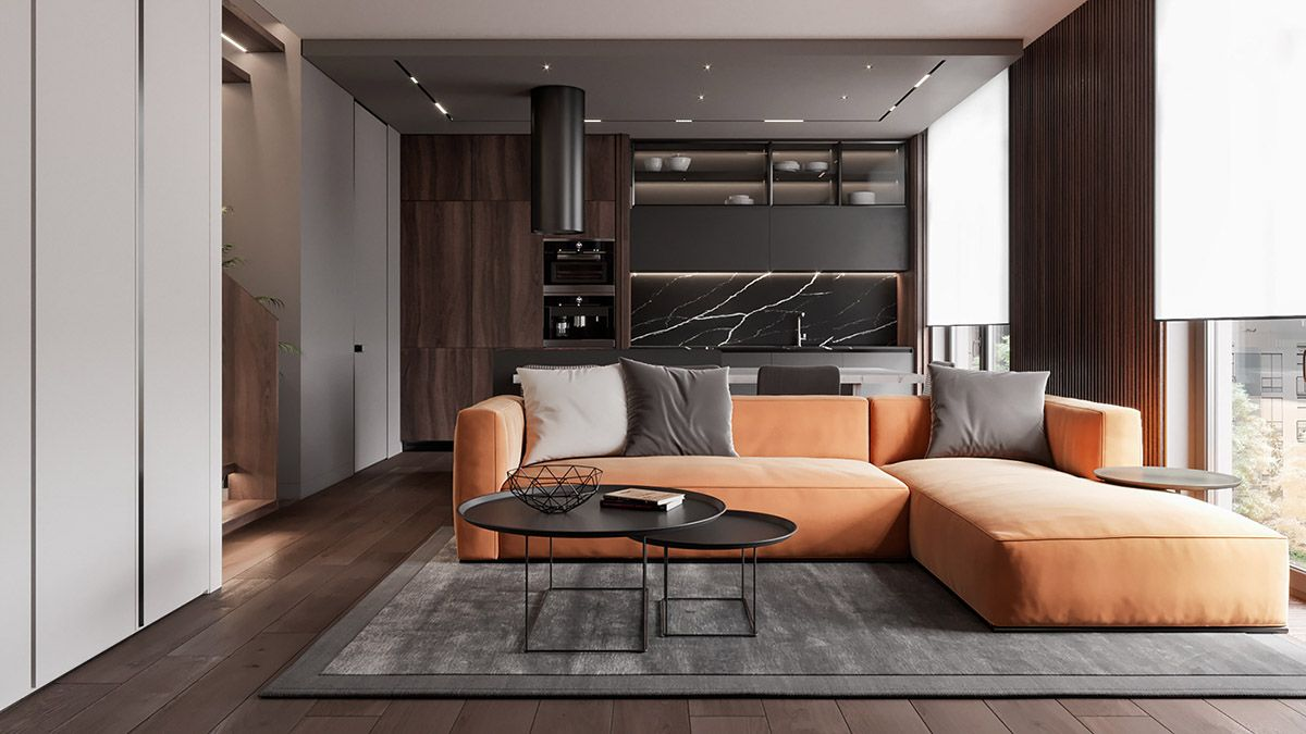 Penthouse Interior Design With Orange Accents  Minimalism
