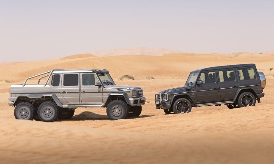 The Mercedes-Benz G63 AMG 6x6 and its standard-issue SUV counterpart.