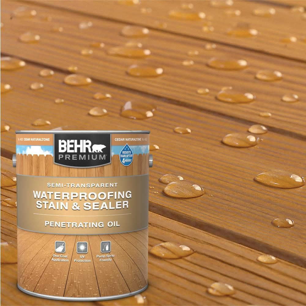 Behr Premium 1 Gal St 533 Cedar Naturaltone Semi Transparent Penetrating Oil Based Exterior Waterproofing Wood Stain 463301 The Home Depot In 2020
