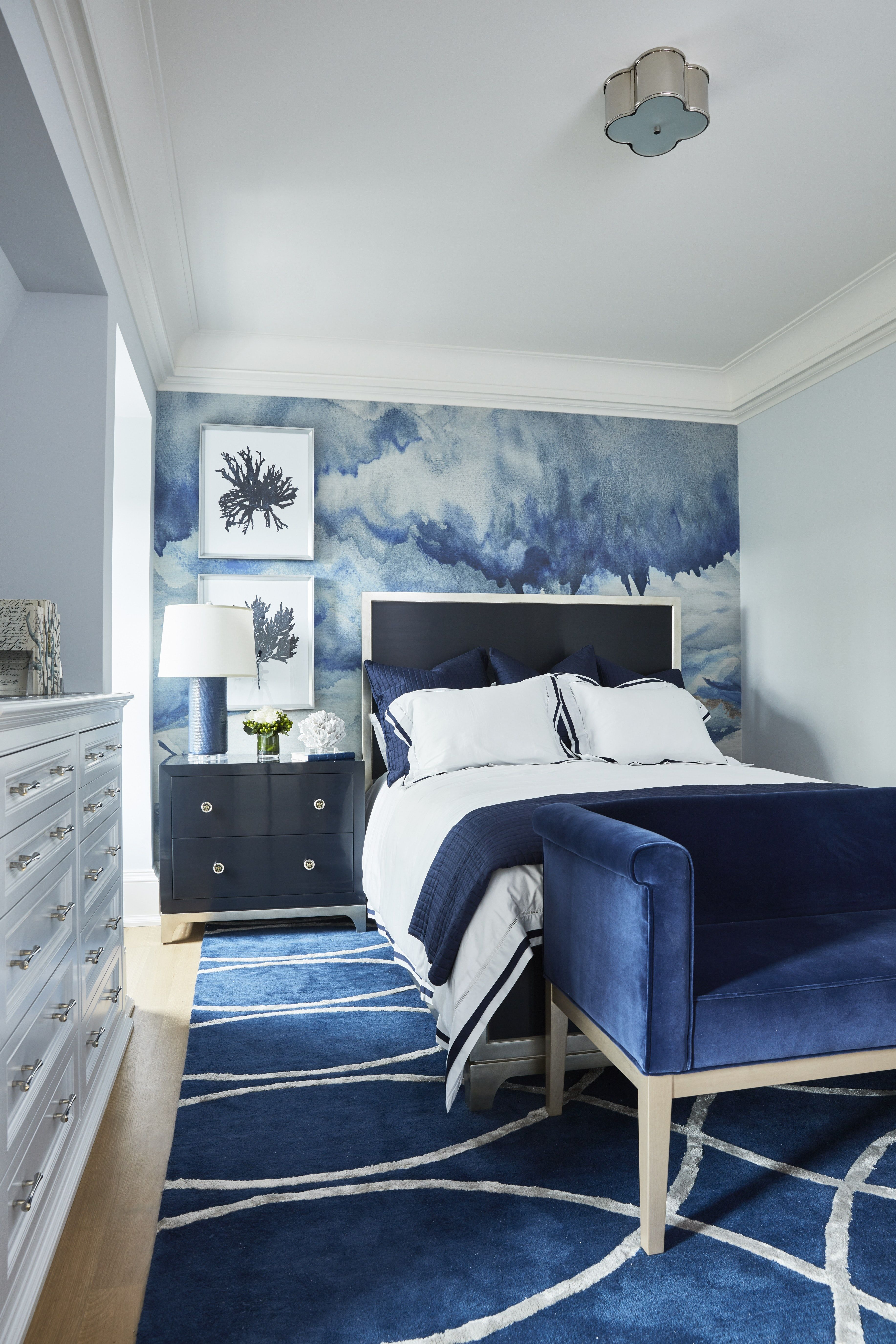 Navy Blue Bedroom With Accent Mural Wallpaper Blue Bedroom Decor Navy Blue Bedrooms Blue Bedroom