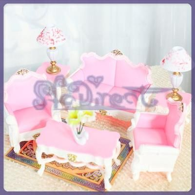 PRINCESS BEAUTY LIVING ROOM Dollhouse Sofa Table Furniture lamp VASE ...