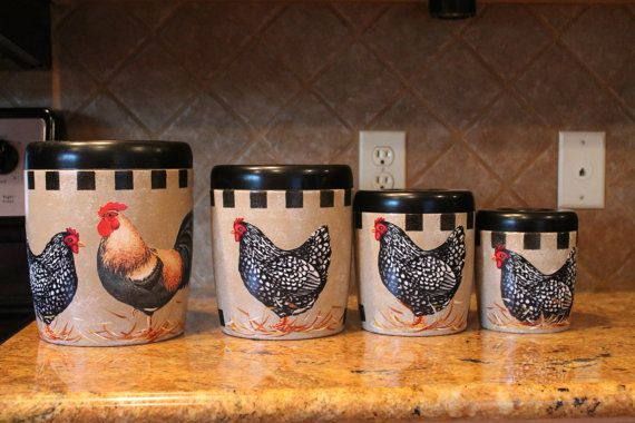 Marvelous Rooster Canister Set...4 Piece Vintage Upcycled Canister Set...Kitchen