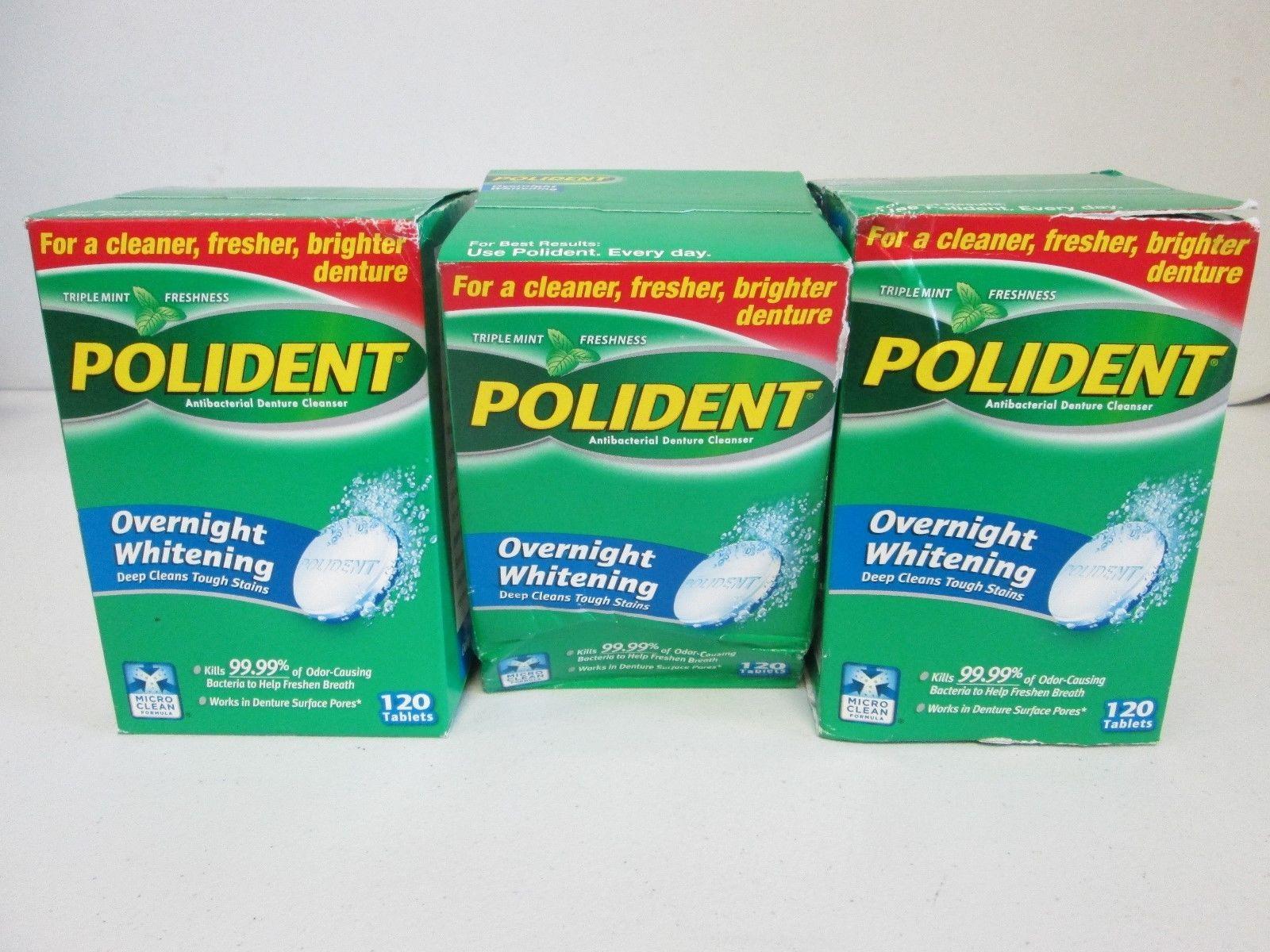 Denture Care Lot Of 3 Polident Overnight Whitening 360 Tablets Buy