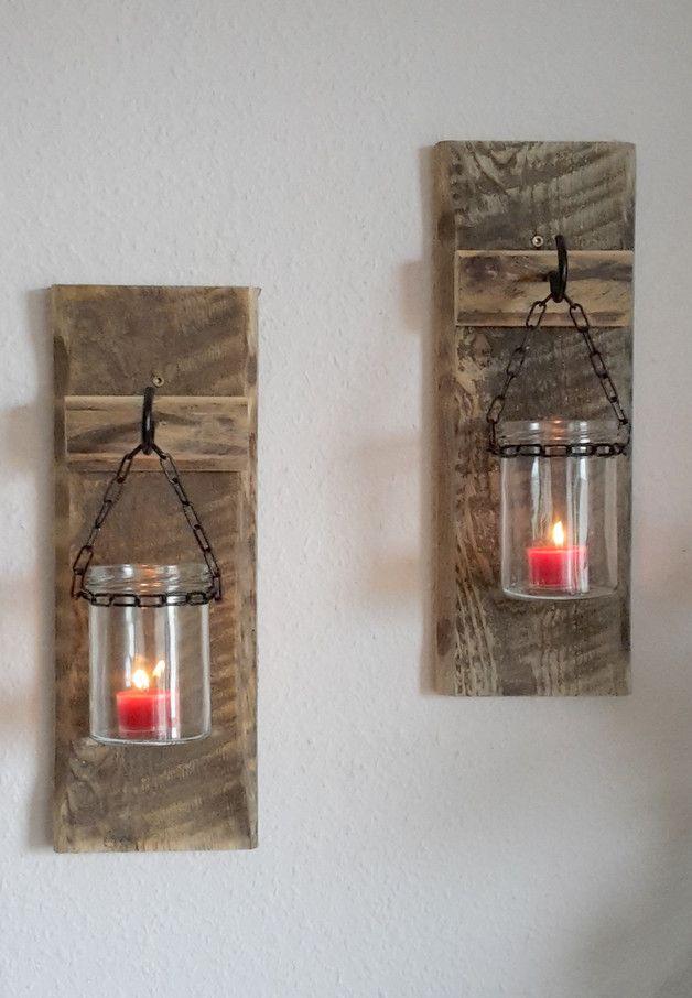 2er Set Paletten Windlichter Wandwindlichter Wood art, Decoration - wohnzimmer deko wand