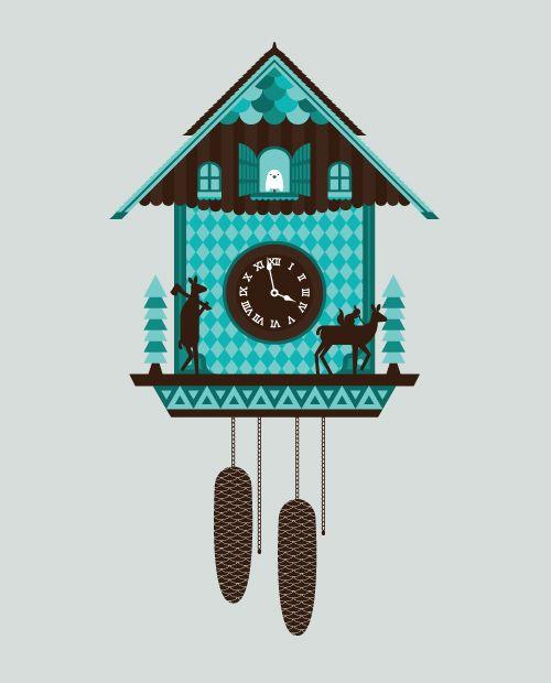 Korju Cuckoo Clock Illustration Done In Illustrator Cuckoo Clock Clock Tattoo Design Clock