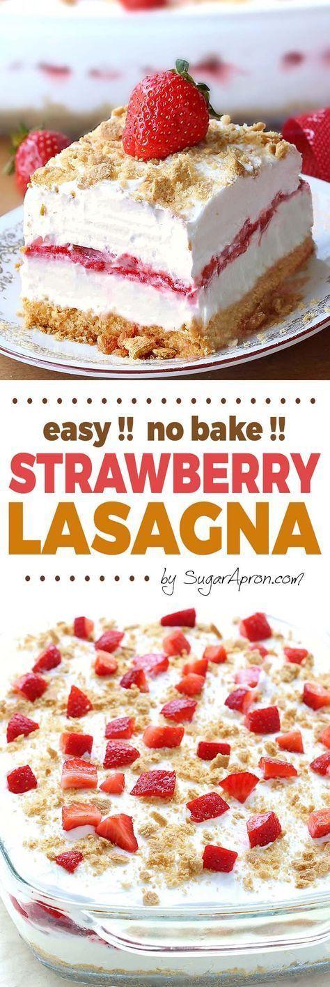 No Bake Strawberry Cheesecake Lasagna – Sugar Apron
