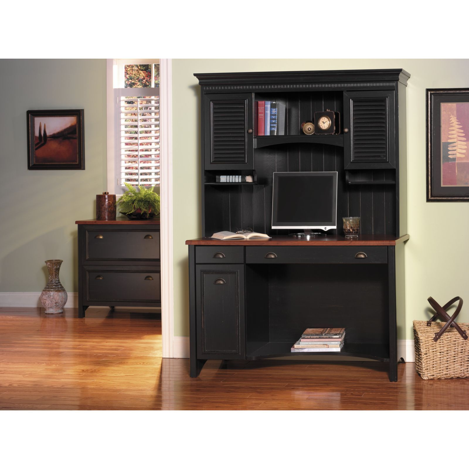 Bush Furniture Stanford Computer Desk With Hutch In Antique Black (Bush  Computer Desk And Hutch), Size Large