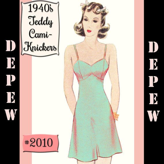 Vintage Sewing Lingerie Pattern 1940\'s Style Teddy Cami-Knickers ...