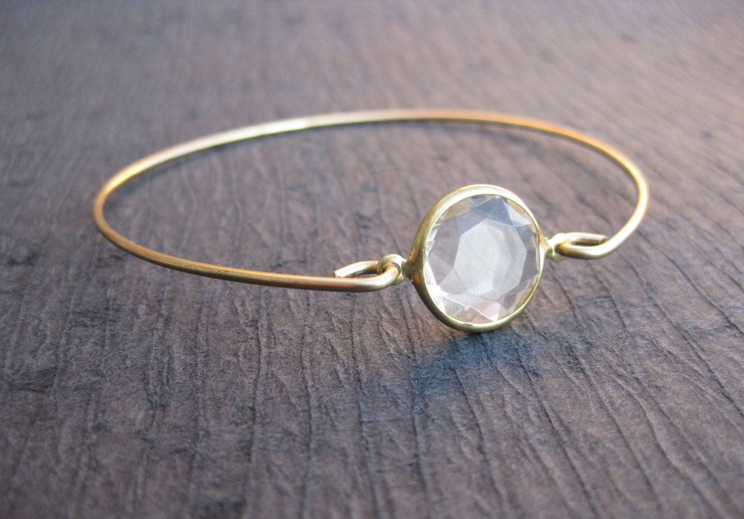Crystal and gold bangle bracelet white crystal bangle k gold
