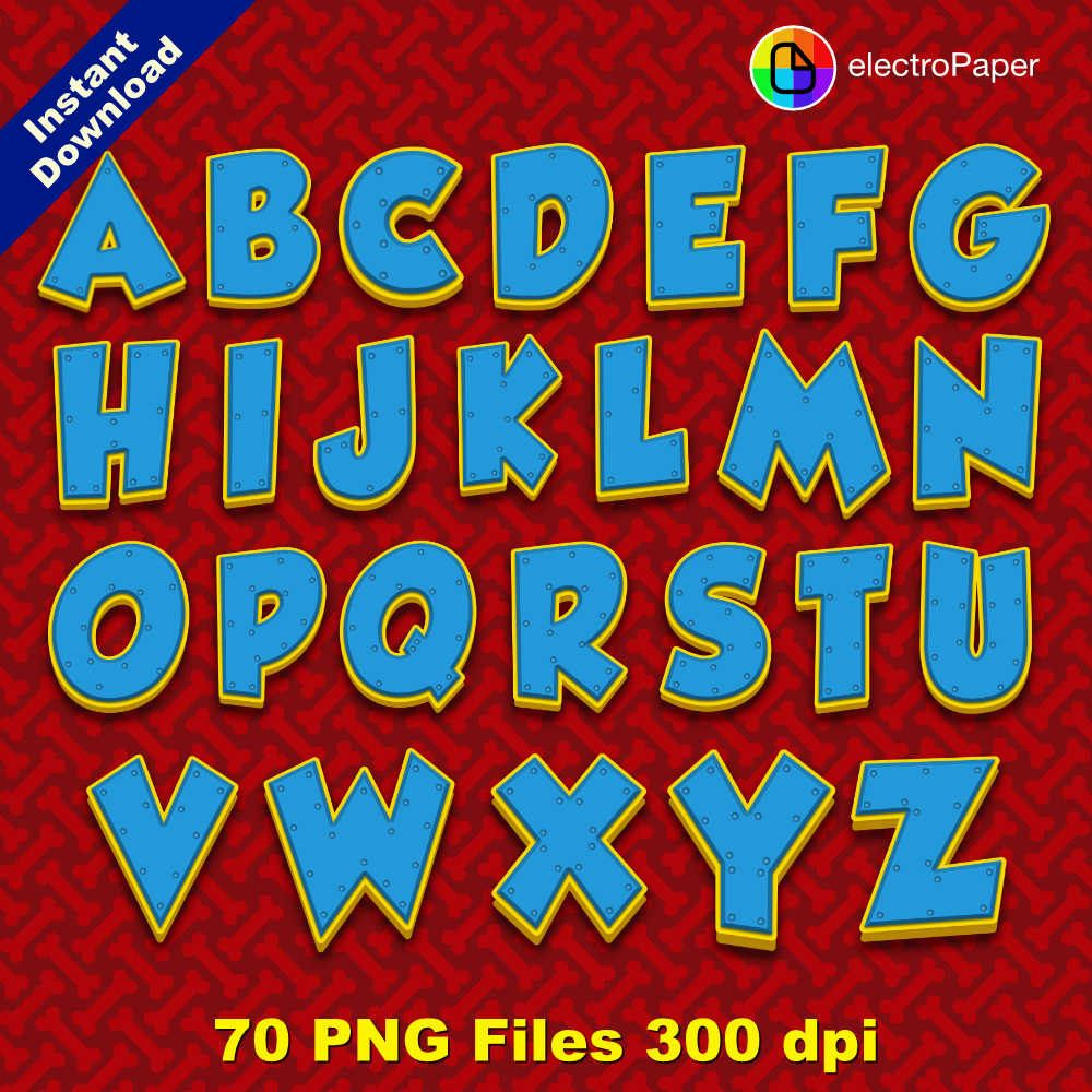 PAW PATROL Full Alphabet Clipart 70 png files by ...