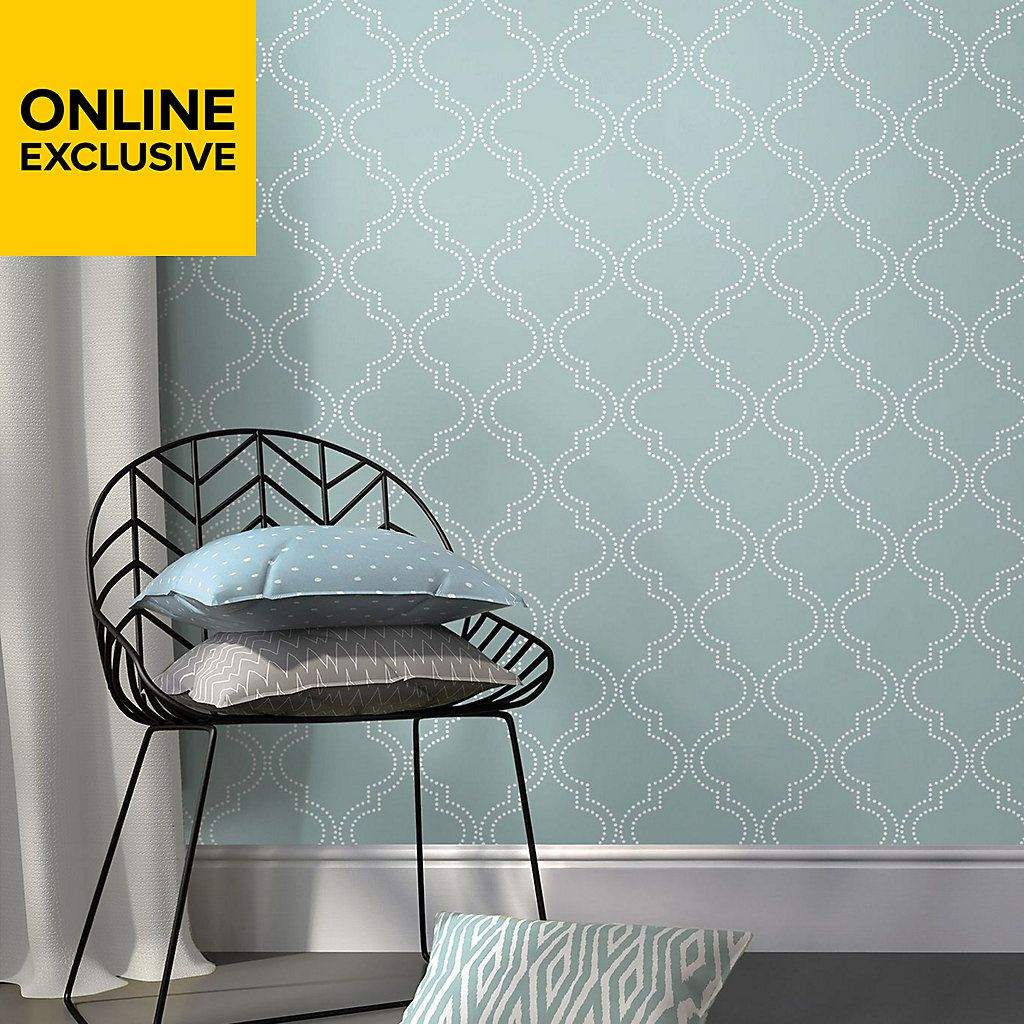 Wallpops Quatrefoil Blue L Stick Wallpaper 5500mm W 520mm