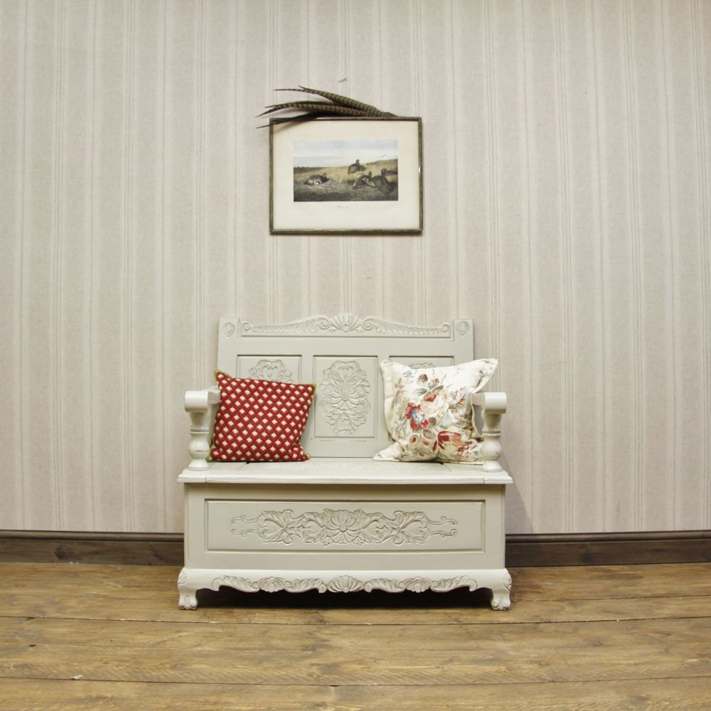 Elegant Painted Hall Storage Seat, Window Seat with lift ...