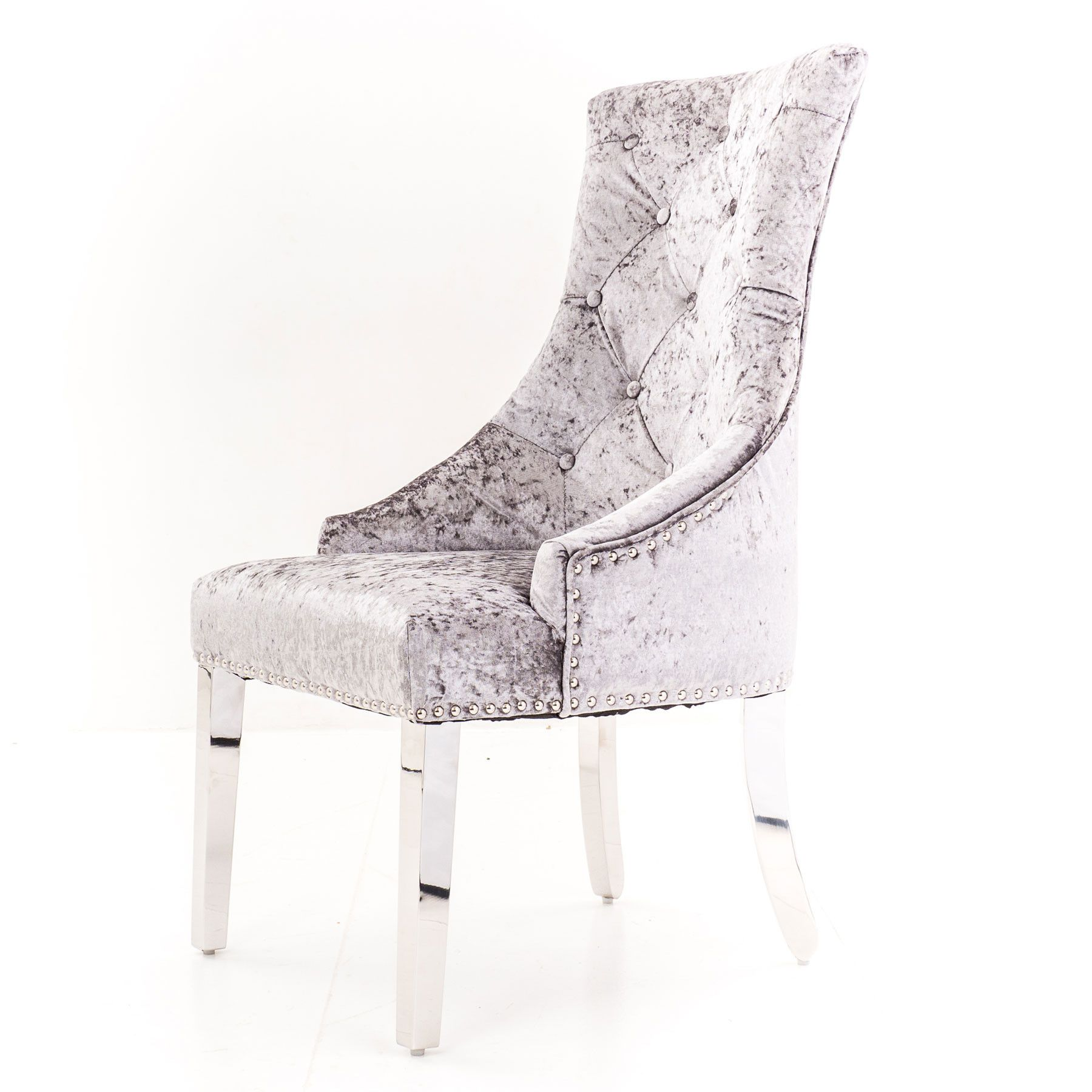 Phenomenal Lyon Silver Velvet Dining Chair With Lion Knocker And Chrome Gamerscity Chair Design For Home Gamerscityorg