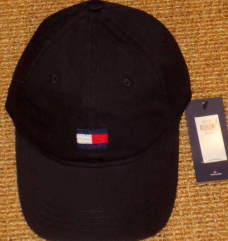 507f27db815 TOMMY HILFIGER BASEBALL CAP MEN S BLACK BIG FLAG LOGO COTTON AUTHENTIC NEW   TommyHilfiger  BaseballCap