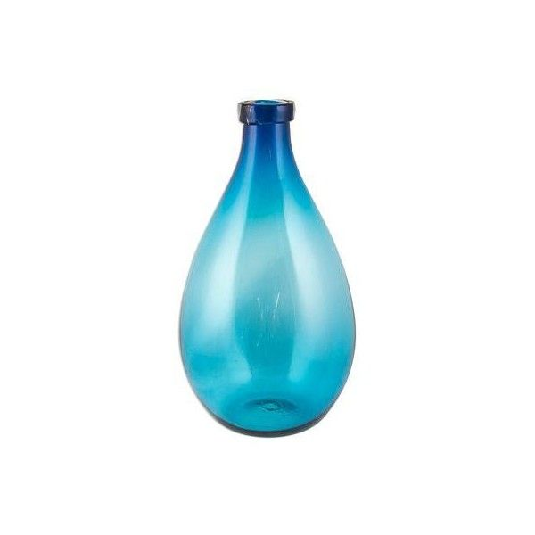 NOVICA Aquamarine Color Hand Blown Glass Artisan Bottle Art found on Polyvore featuring polyvore, home, home decor, blue, vases, blue home decor, bubble bottles, glass home decor, decorative glass bottles and blown glass bottle