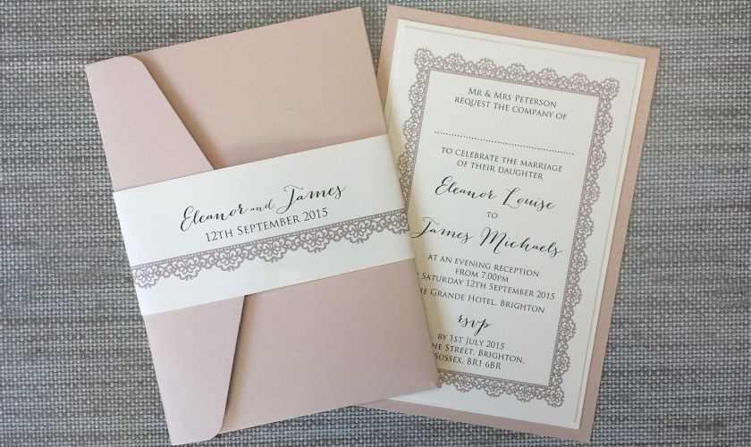 Lace - Wedding Pocketfold Invite, Vintage Lace