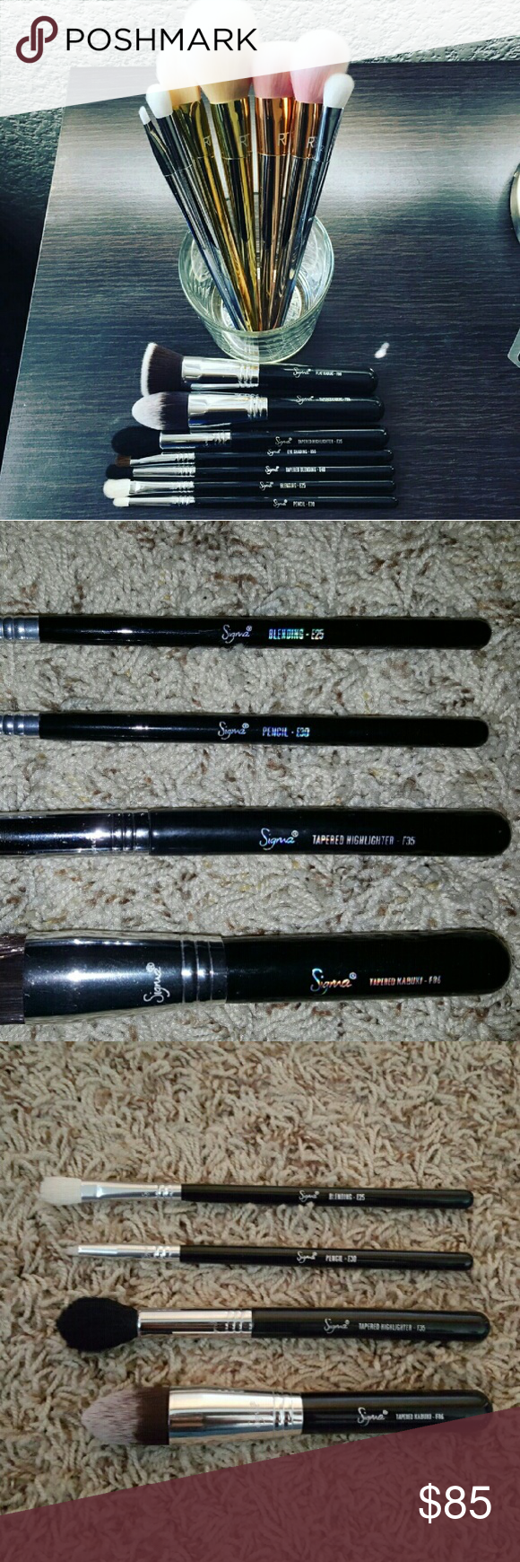 $30!!! FLASH SALE!!FOUR Sigma brushes!! Authentic sigma brushes. I have posted these on another site and these are the ones I have left. Feel free to make offers or if you would like to purchase one individually I can make a separate post for that:) Brushes include: F86, F35, E30, E25.  F35 has been used but has been sanatized. If you have any questions feel free to ask:) Urban Decay Makeup Brushes & Tools