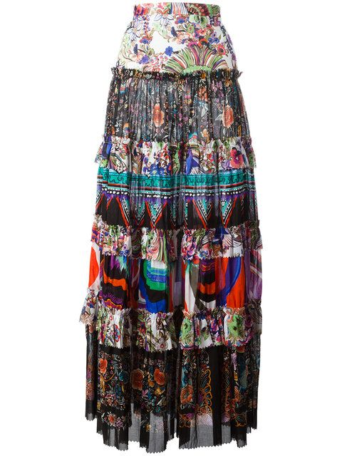9961ce719977 ROBERTO CAVALLI Enchanted Garden Tiered Maxi Skirt. #robertocavalli #cloth # skirt