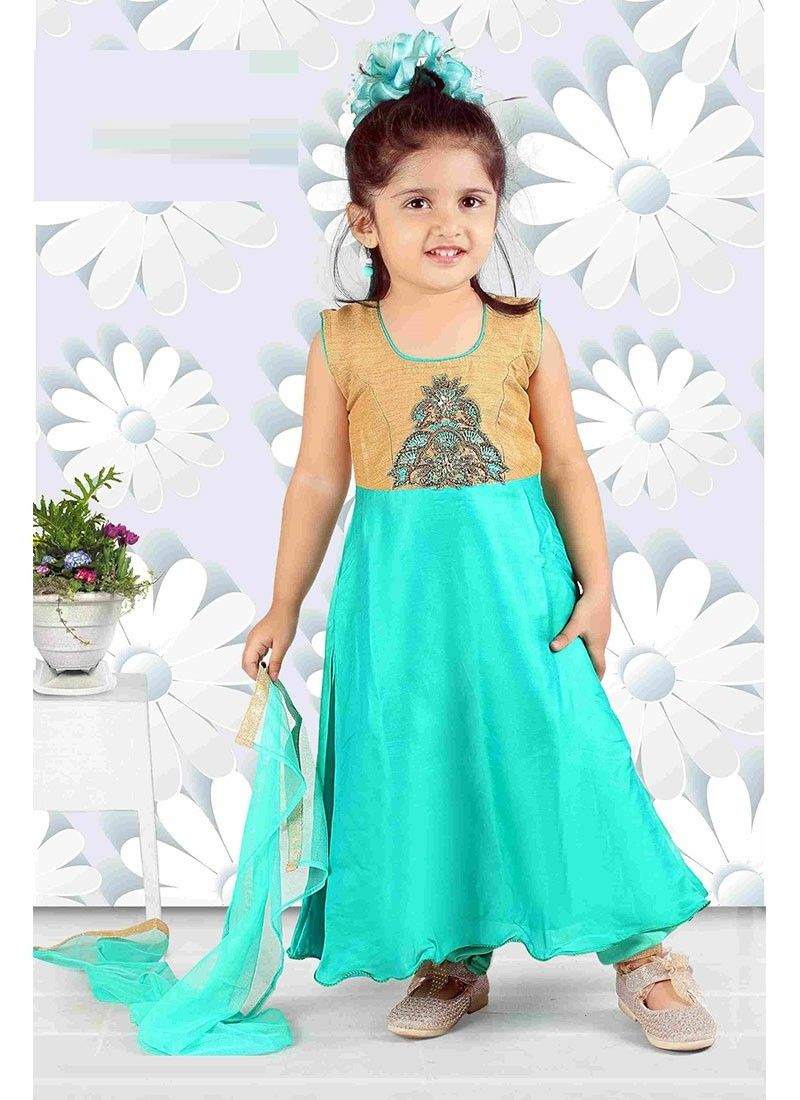 Turquoise Silk Girls Salwar Kameez With Embroidered, Lace Works ...