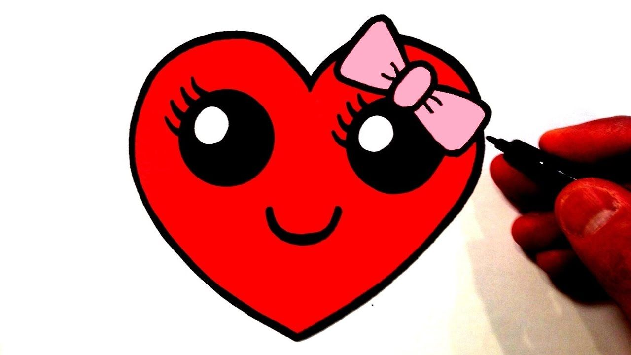 How To Draw A Cute Heart Smiley Face With A Bow Barbie Drawing Cute Drawings Sweet Drawings
