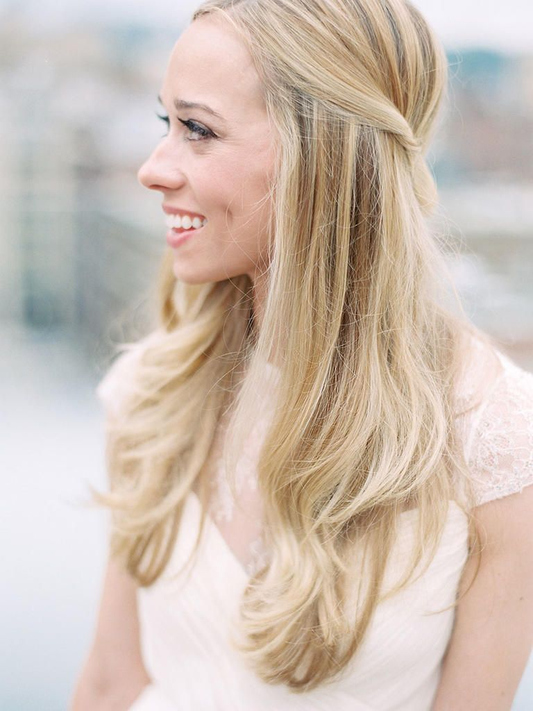 15 Half Up Half Down Wedding Hairstyles We Love Straight Wedding Hair Simple Wedding Hairstyles Wedding Hair Down