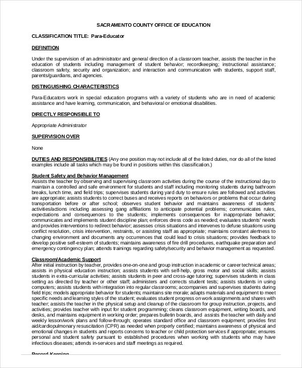 office para educator resume examples for paraeducator career termplate free - Paraeducator Resume Sample