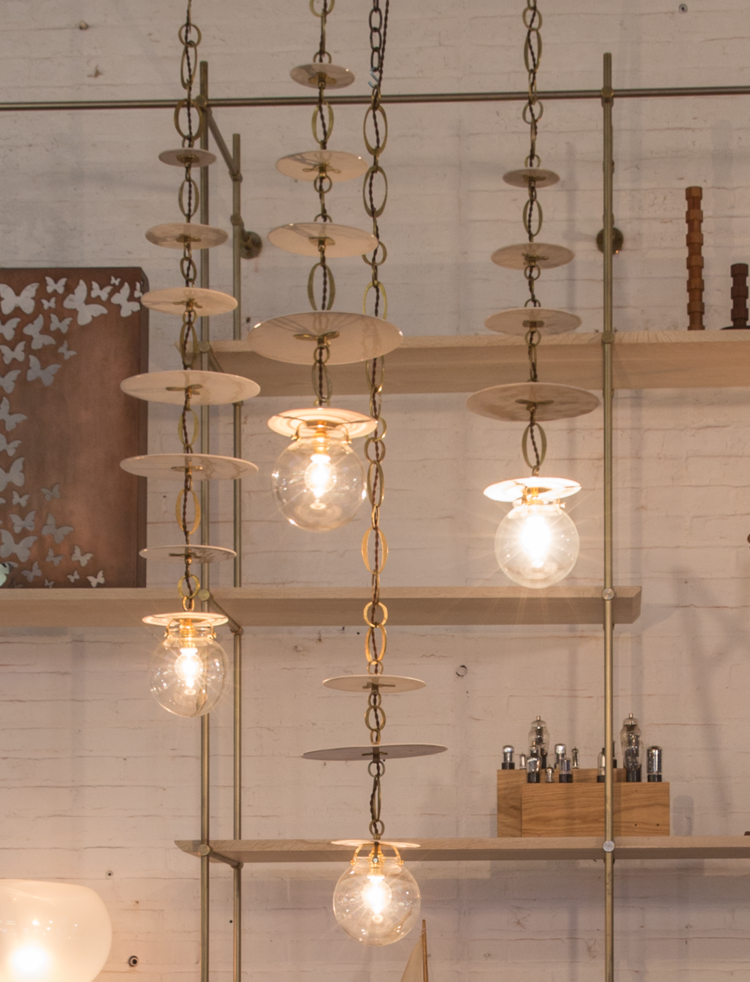 Natalie Page Disc Pendant Lamps With Hand Made Chain Pendant Lamp Disc Pendant Hanging Lights
