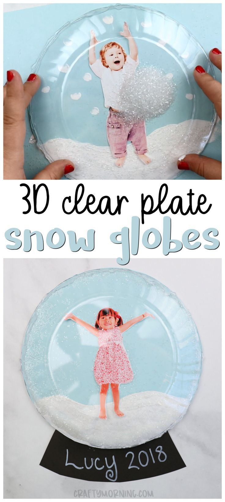 Make some 3D clear plate snow globe keepsakes! Fun winter craft for kids to make. Use plastic clear plates to make a fun art project. Great christmas gift to parents and grandparents. Shake the snow glitter so it falls over the kids! Photo gift idea.