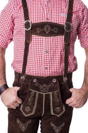 Lederhosen Leather Shorts Oktoberfest Trachten Bavarian Dark Brown