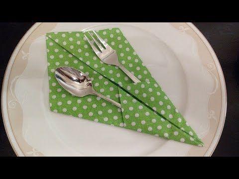 Servietten falten Bestecktasche - Basteln DIY und Deko Ideen