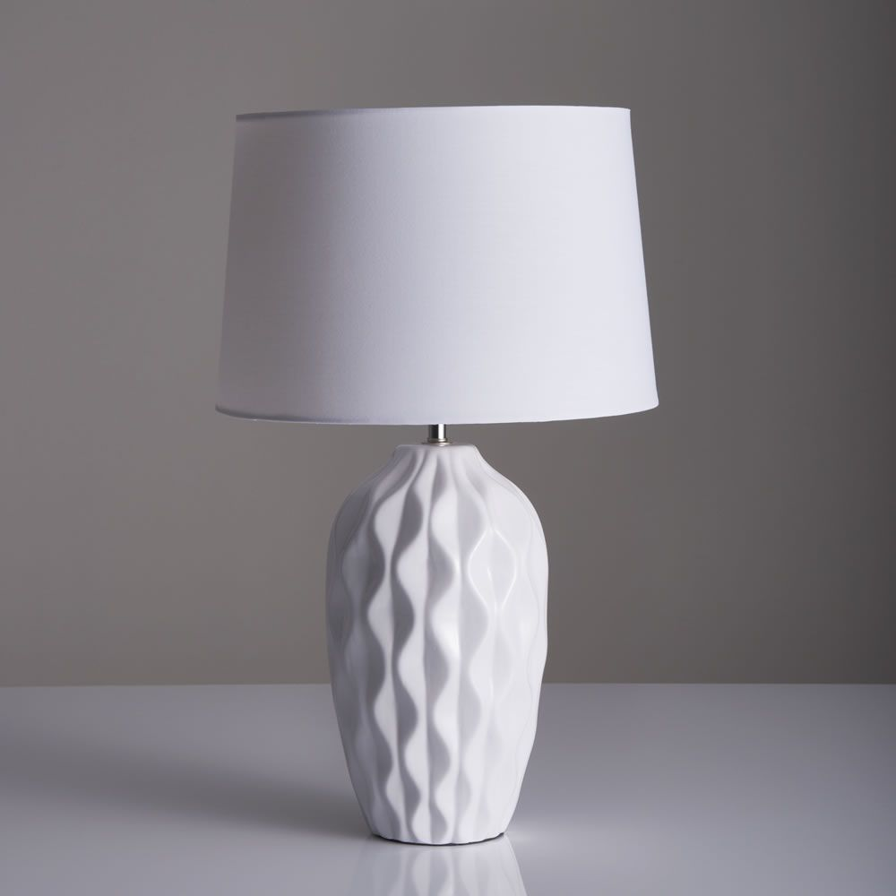 Textured Table Lamp in 2020 | Table lamp, White table lamp