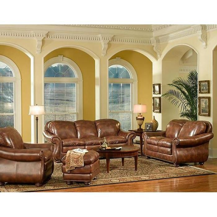4-piece pecan living room set | nebraska furniture mart (color