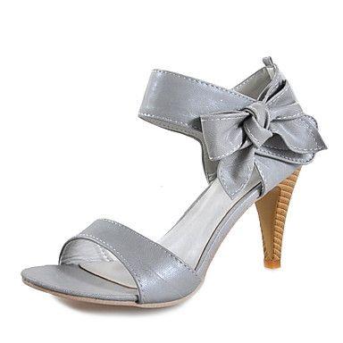 couro sandálias de salto stiletto superior com casamento bowknot / sapatas do partido (1180-12714669) mais cores disponíveis – USD $ 14.99