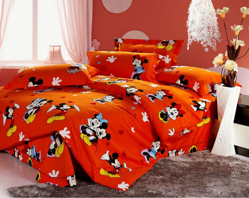 Mickey And Minnie Mouse Bedding King Queen Size 4pcs Bedding Sets