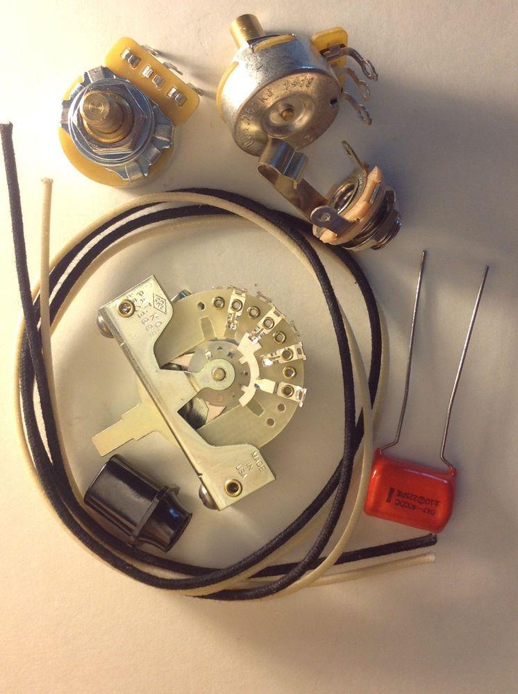 Wiring Harness Kit For J Bass Bourns Knurled Pots .068uf 225P Orange Drop Cap