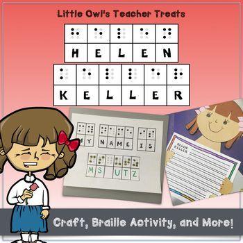 Helen Keller Craft and Braille Activity Helen keller, Writing