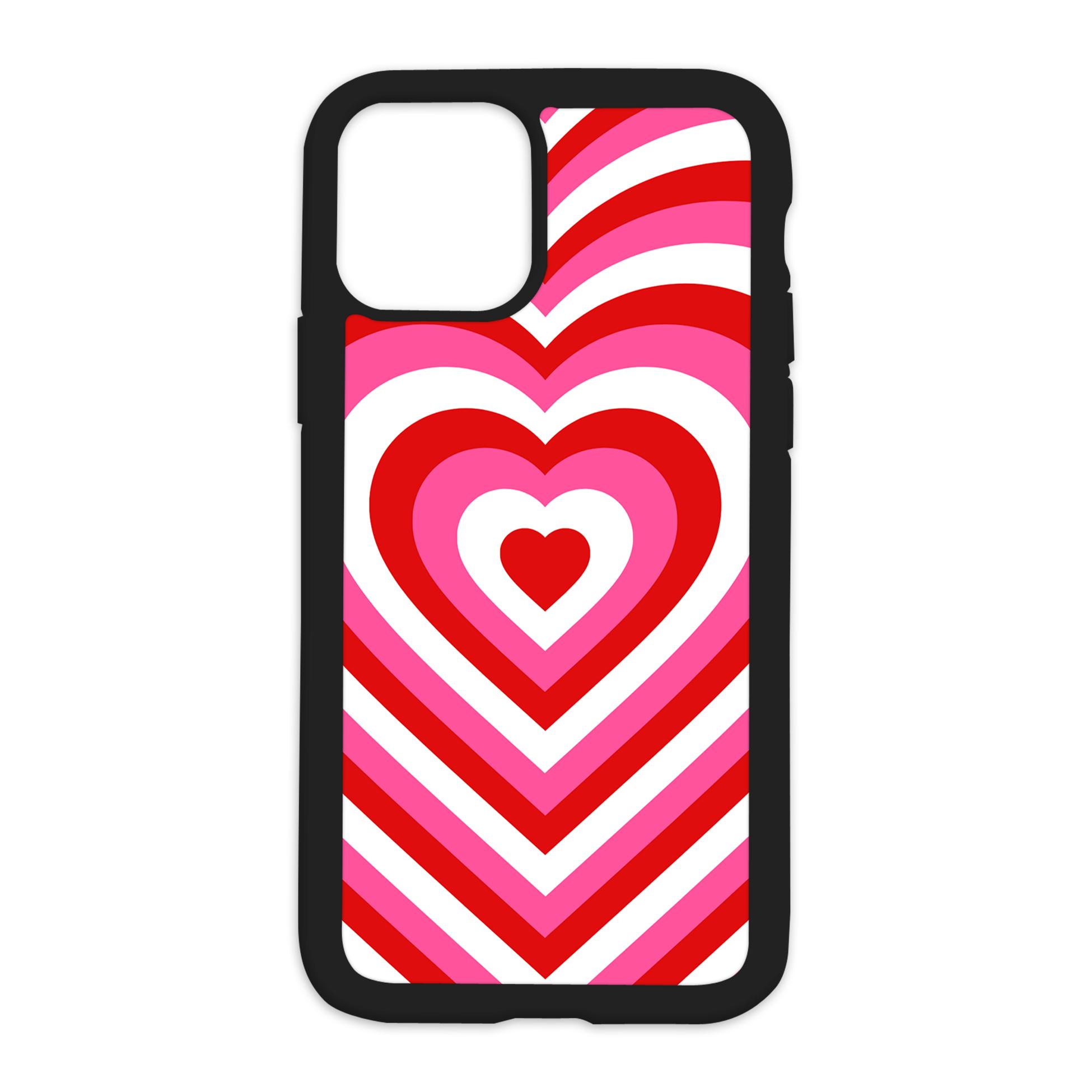 Heart Effect Design On Black Phone Case - XS Max