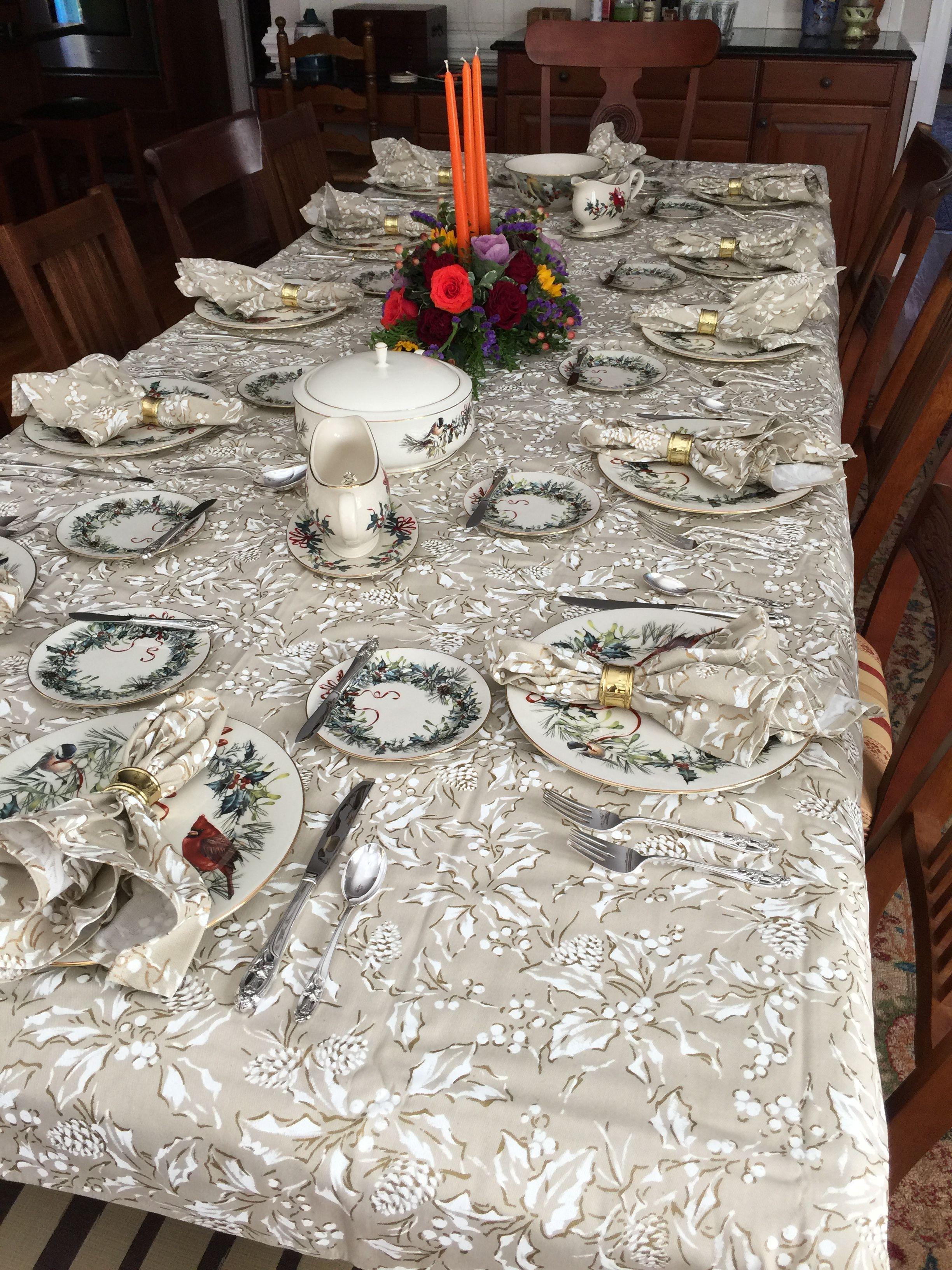 Holiday Breakfast Room Setting Ralph Lauren Tablecloth Lenox