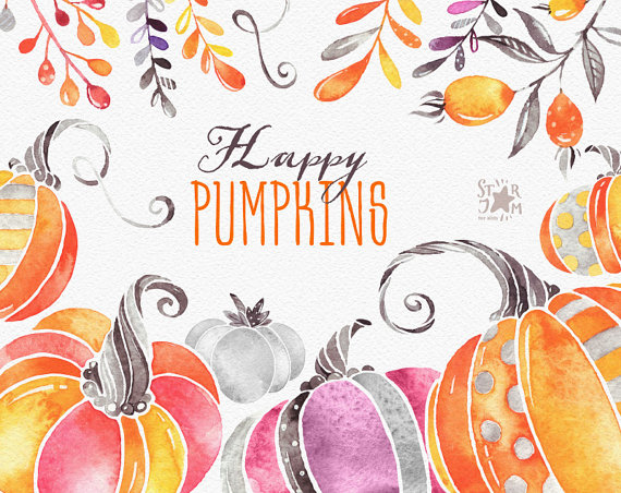 Halloween Thanksgiving Christmas Clipart.Happy Pumpkins Watercolor Clipart Halloween Thanksgiving