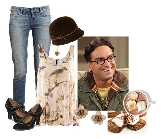 """cocoa with Leonard Hofstadter"" by jaliceaz ❤ liked on Polyvore featuring Paige Denim, H&M, Jamie Jewellery, Lisa Battaglia and Alba Rosa Mancini"