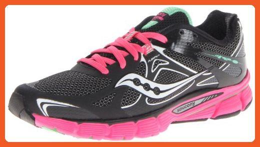 c7c9bbec84a44 Saucony Women's Mirage Running Shoe,Black/Green,8 M US - Athletic ...