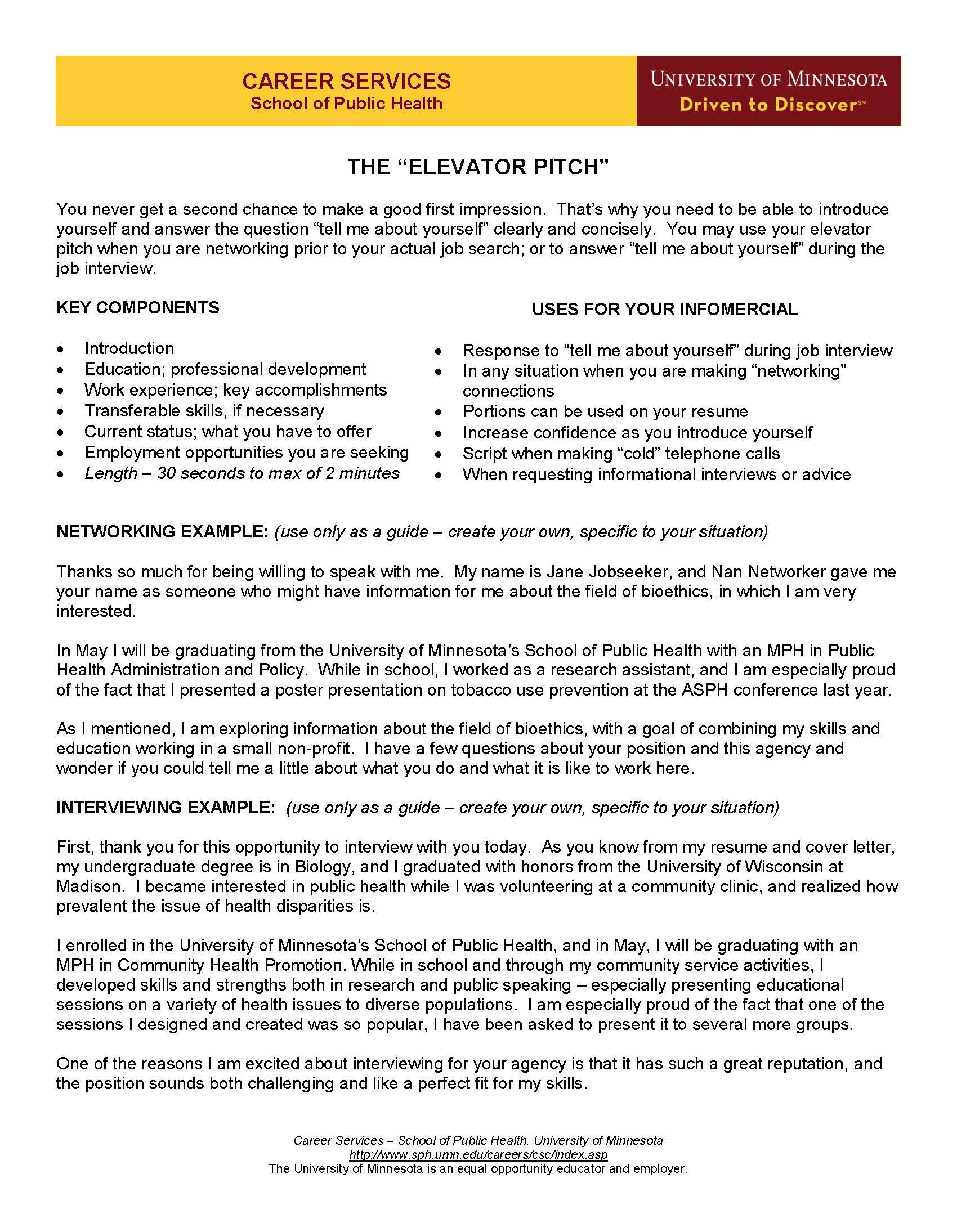 Find My Resume Elevator Pitch Networking Guide Pinterest Pitch Job
