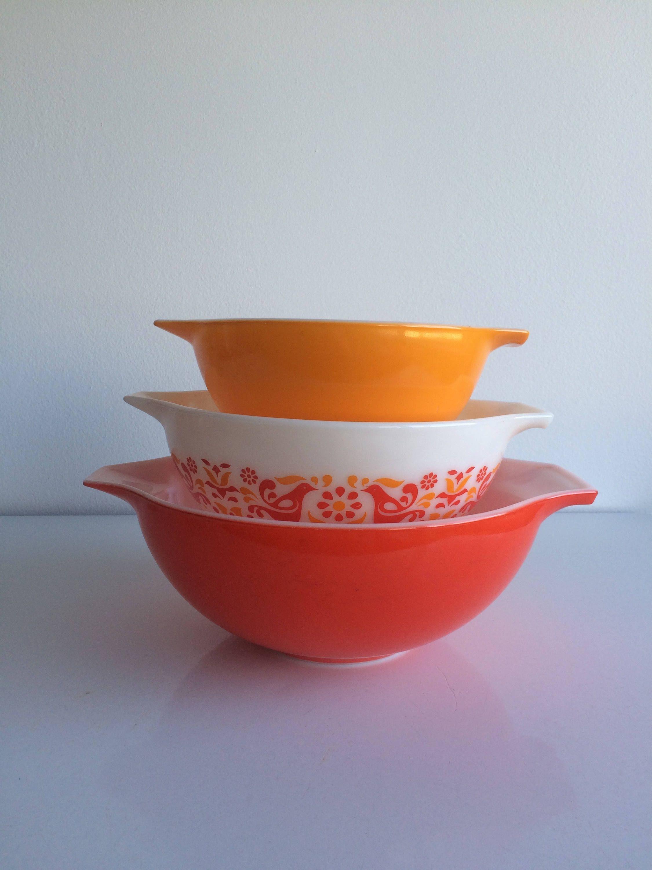 Vintage Pyrex Friendship Pattern Cinderella Bowls #442 #443 #444 Set ...