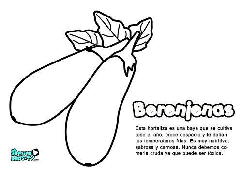 Dibujos Colorear Para Niños, Berenjenas. Educativos Frutas